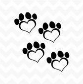 Dog paw heart prints vinyl stickers decals set of 4 suit wall car kennel