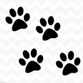 Dog paw prints vinyl stickers decals set of 4 suit wall car kennel