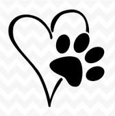Heart Dog Paw vinyl sticker decal pet love suit wall window car kennel bowl DIY