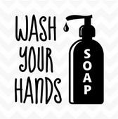 Wash your hands vinyl sticker words soap hygiene health bathroom kitchen home