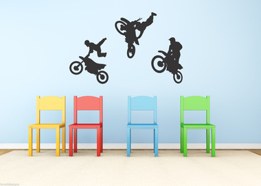 Moto bike trio vinyl stickers