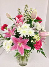 Pink Oriental Lily & Carnation Vase