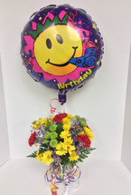 Festive Birthday Bouquet with Balloon