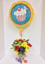 Festive birthday cheer bouquet with balloon