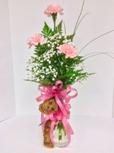 3 Carnation Bud Vase With Teddy Bear