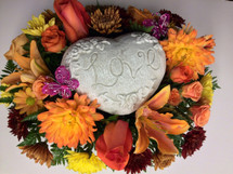 Heart Stone with Fresh Flowers