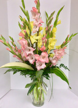 Mixed Greenery and Gladiola Arrangement