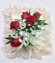Square Satin Pillow with Red Roses