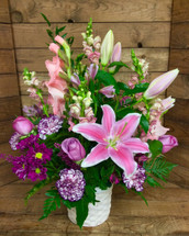 Fresh Basket With Lilies and Roses In Pastels