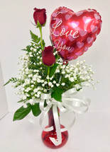 Two Red Rose Vase With Heart Balloon