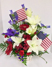 Red, White, and Blue Fresh Basket Arrangement