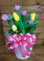 8 Inch Pot Mixed Colored Tulips with Bow and Easter Egg Pick