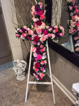 Large Standing Cross Easel in Pinks and Purples