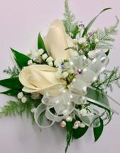 2 Bloom Standard Size White Rose Wrist Corsage