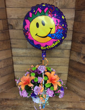 Beauty Blooms Basket with Mylar Balloon