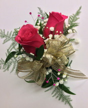 2 bloom hot pink rose wrist corsage