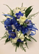 Wrist Corsage with Sweetheart Roses and Delphinium