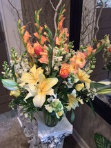 Large Fresh Vase in Creams, Yellows, and Oranges