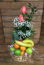 Fresh Fruit and Blooms Basket