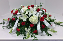 1/2 Couch Casket Spray in Reds and Whites Garden Style