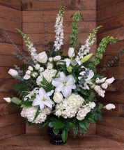 Elegant Sympathy Urn in Whites and Creams