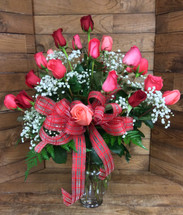 Rose Arrangement in Reds and Corals