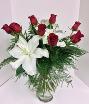 White Stargazer and Red Rose Vase