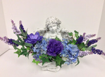 """Victoria"" concrete angel with silk flowers"