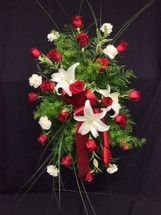 Striking Red Rose and White Stargazer Easel