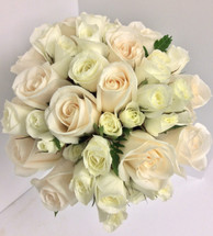 Hand-tied Bridal Bouquet with standard and spray roses in whites and creams