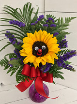 Smiley sunflower fresh vase