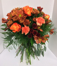 European hand-tied bouquet in autumn colors
