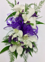 White orchid and limonium wristlette