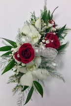 Red sweetheart and white dendrobium orchid corsage