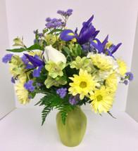 Sunlit ocean vase arrangement