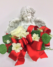 Victoria concrete angel with bow and silk in reds and whites