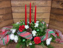 Festive Holly 3 Candle Centerpiece