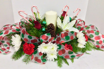 Candy Cane and Polka Dots Pillar Candle Centerpiece