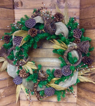 Evergreen Wreath In Earth Tones with Lotus & Burlap