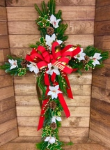 Fresh Holiday Cross in Golds, Reds, and Whites