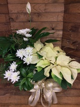 Mixed Planter Basket with Poinsettia and Holiday Trim