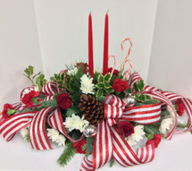 2 Candle Candy Cane Oval Centerpiece