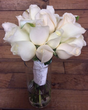 Creamy Calla and Rose Hand-tied Bouquet