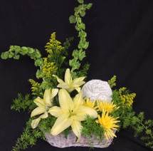 Fresh Basket in yellows and greens with memorial plaque