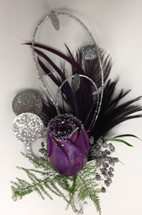 Glitzy Boutonnière in Black Purple and Silver