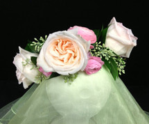 Garden Rose and Ranunculus Bridal Head Wreath