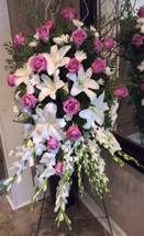 White Stargazer and Lavender Rose Easel