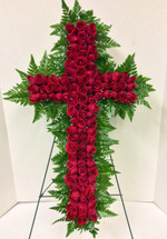 Sweetheart Rose Cross Easel Arrangement