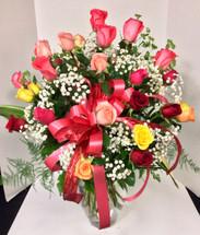 Multi-Colored Rose Arrangement