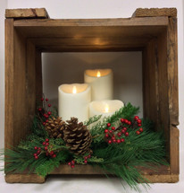 Seasonal Hand-Crafted Candle Box with 3 Mirage Flameless Candles